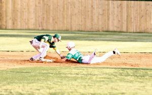 Indy's shortstop Noah Howie tags out the Myers Parker runner at second base Friday night at Myers Park High School.