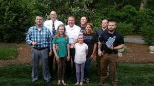 Award Winners (L-R): Locust Officer Trent Middlebrook (Officer of the Year), Oakboro Captain Craig Richards (Heart of a Hero), Stanly County Sheriff's Office Detective Jamie Shue's twin brother Jason Shue and Detective Shue's (Accepting Detective Shue's posthumous Outstanding Career Service Award), Mike Hinson and Jennifer Shelton (Chief Officers of the Officer Jeff Shelton Foundation), Albemarle Officer Josh Laws (Heart of a Hero), Stanfield Chief Corie Faggart (Everyday Hero)