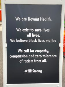 Novant Health sign calls for empathy and compassion