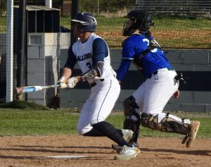 Andy Duran hitting a double to right center for two RBI's