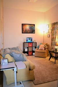 A cozy therapy room at Graceful Insight Counseling and Consulting in Mineral Springs