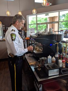 Chief Ledford's stint as a guest barista at Vintner's Hill