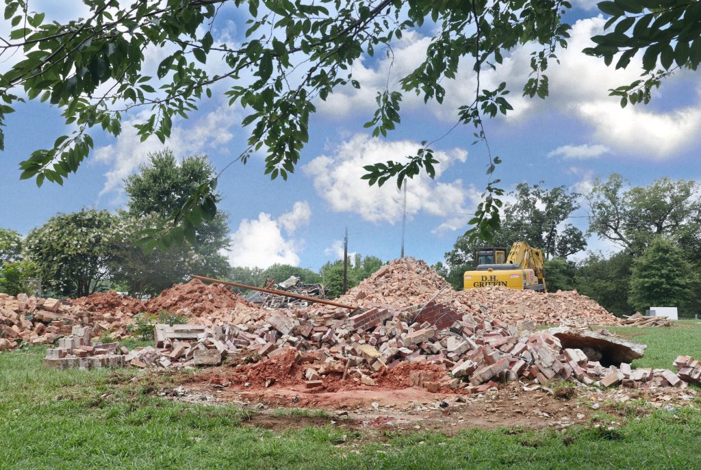 Rubble from demolition