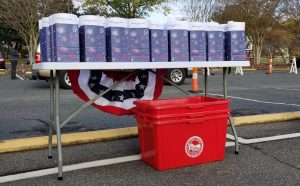 Veteran's Day Drive-thru Event, table of recognition bags