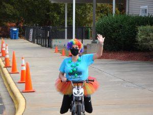 Principal, Krista Tolchin dressed as a clown.