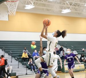 Freshman Kaylee Carson posted a double double for the Lady Patriots. She scored 12 points, pulled down 13 rebounds.