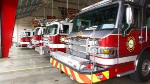 Firetrucks inside the Firehouse.