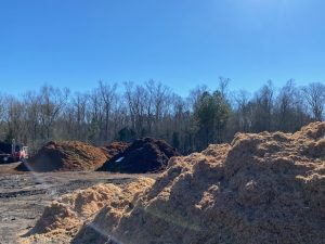 Mulch piles at Metrolina Mulch LLC