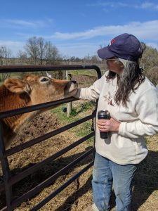 Walsh with one of her cows