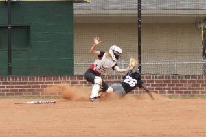 Safe at home during scrimmage.