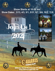 Flyer for Cabarrus Saddle Club's Memorial Day Fun Show