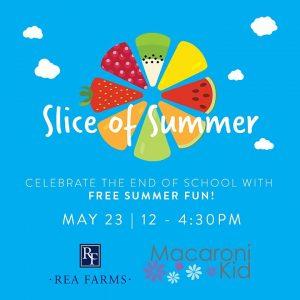 Flyer for South Charlotte Macaroni Kid Slice of Summer