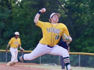 Indy's Carson Gesing delivers a pitch in his no-hit game against East Mecklenburg. Photo by Ron Morris