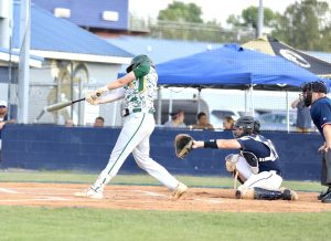 Designated hitter Brandon Moser starts game two with a single to center field. Photo by Ron Morris