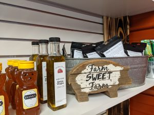 In addition to fresh meat, Red Barn Farm sells honey and olive oil infused with hemp grown on their property