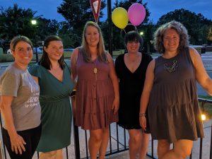 2021-2022 Board Members: Amanda Francis (Associate Vice President), Nykei Bolgrin (Newsletter Coordinator), Brianna Anderson (Membership Vice President), Robyn Knuff (Secretary) and Mary Beth Foster (President)
