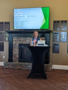 Anna Granger (1st Choice Properties) gave an informative presentation on Mint Hill's current real estate market
