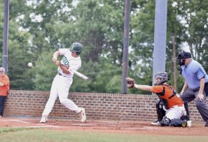 Luke Chantry gets a base hit in Thursday's doubleheader against Rocky River. Photo by Ron Morris.