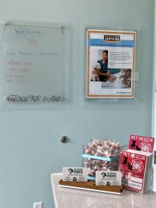 Passionate Paws Waxhaw has a board displaying who the doctors and groomers are with.