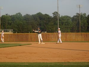Andy Duran at second base after slamming a double.
