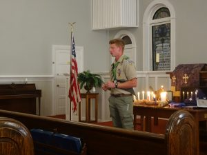 Colby Bost addresses attendees at Eagle Scout of Honor ceremony.