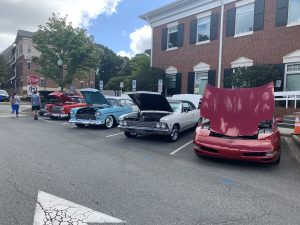 Cars lined up for display