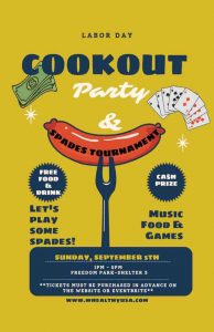 Labor Day Cookout Party & Spades Tournament flyer