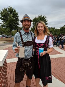 Man and woman in Bavarian costumes