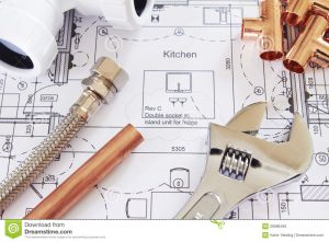 Plumbing plan for a kitchen and homesite.